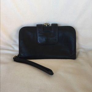 Hobo International Wristlet Black Leather Wallet